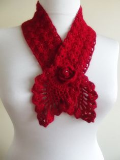 hand crochet red scarf with flower christmas gift by smilingpoet, $22.90