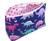 Jurassic Park Cosmetic Bag, T-rex, Dinosaur Fabric, Zip Pouch, Large Makeup Bag, Favor Bag Women, Makeup Travel Case, Dinosaur Gift Ideas