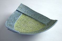 Ceramics by Diana Cox at Studiopottery.co.uk - Blue and Green dish, produced in 2006.