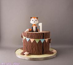 Woodland Fox First Birthday Cake - cake by Mom's Busy Baking