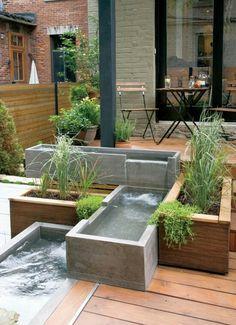 22 Unique DIY Fountain Ideas to Spruce Up Your Backyard - Water feature for the small garden garden - Back Gardens, Small Gardens, Outdoor Gardens, Roof Gardens, Terrace Garden, Water Garden, Garden Ponds, Courtyard Gardens, Modern Fountain