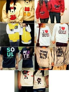 The idea of couples clothing, not necessarily these sweaters though