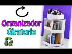 Organizador de maquillaje giratorio con cartón | Manualidades