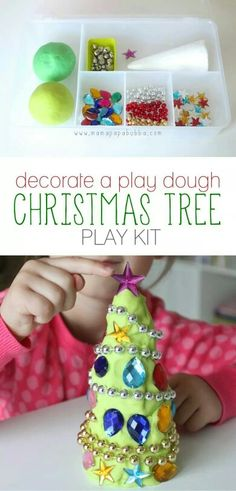 Pre-made kits like this Christmas tree kit filled with dough and interesting loose parts makes it really easy to delve into the fun – everything that's needed is right there in a container waiting to be taken out! its christmas Preschool Christmas, Christmas Activities, Christmas Crafts For Kids, Craft Activities, Christmas Themes, Holiday Crafts, Holiday Fun, Winter Activities, Spring Crafts