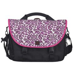 Floral paisley White pink black Laptop Bag