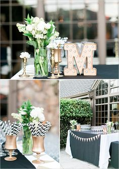 Oh, so cute!!  Ceremony drinks table with marquee sign @weddingchicks
