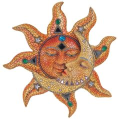 Orange Mosaic Face Sun With Yellow Mosaic Moon