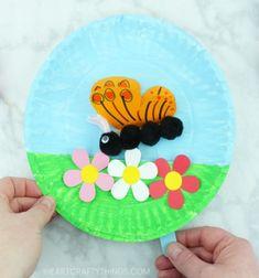 DIY Butterfly paper plate puppet - fun butterfly craft for kids // Lepkés bábjáték papírtányérból - kreatív tavaszi ötlet gyerekeknek // Mindy - craft tutorial collection // #crafts #DIY #craftTutorial #tutorial