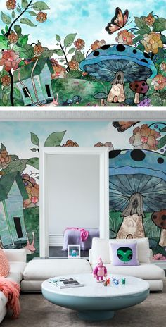 Room Wallpaper, Wallpaper Ideas, Kids Wall Murals, Hand Painted Wallpaper, Beautiful Interiors, Bunt, Surrealism, House Warming, Designer