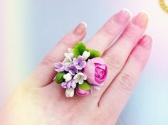"""Ring """"Peony"""" cold porcelain, flower ring, purple flowers, jewelry flowers, polymer clay flowers, sympathy ring"""