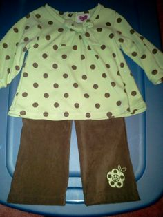 12 mo. 2pc. L/S pant set in Tiny_Treasures' Yard Sale Hartsville, TN for $2.00. Lt. Green with drk bro polka dots & suede bro pants both 12m.
