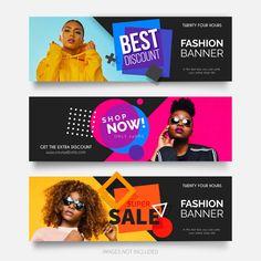 Fashion banner vectors and photos - free graphic resources Banner Design Inspiration, Web Banner Design, Design Café, Design Logo, Vintage Grunge, Banner Vector, Banner Template, Banner Vertical, Banners