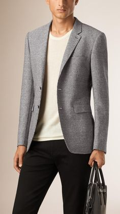 Slim Fit Puppy Tooth Cotton Wool Linen Tailored Jacket | Burberry