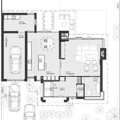 Plattegrond hedendaagse Jaren 30 woning Koolhoven Tilburg: leefkeuken met moderne en-suite