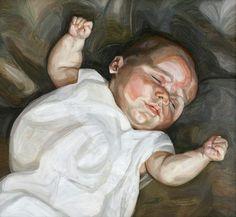 Lucian Freud retrata a su entonces recién nacida hija Bella (ahora diseñadora de moda) en 'Bebé sobre un sofá verde' (1961). La obra es parte de la primera monografía dedicada al pintor en Viena