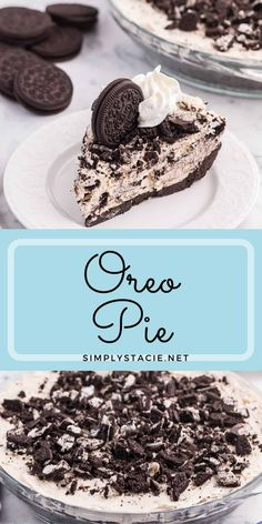 Oreo Pie Recipe - This easy no-bake pie recipe has a chocolate Oreo crust and creamy sweet filling made with Cool Whip, Oreos and cream cheese. You'll love the cookies and cream taste in very bite! Oreo Cookie Recipes, Best Dessert Recipes, Fun Desserts, Delicious Desserts, Yummy Food, Chocolate Oreo, Chocolate Desserts, Oreo Cream Pies, No Bake Oreo Pie