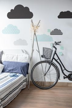 These beautiful minty clouds with modern patterns will help to create an amazing child's bedroom decor in scandi & playful style. Kids Bedroom, Bedroom Decor, Kids Rooms, Contemporary Bedroom, Modern Contemporary, Clouds Nursery, Crafts To Do, Boy Room, Wall Stickers