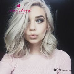 Cheap wig human, Buy Quality wig 27 directly from China wig braid Suppliers: 7A Glueless full lace human hair wigs white women 100% unprocessed brazilian virgin hair wavy lace front short blonde