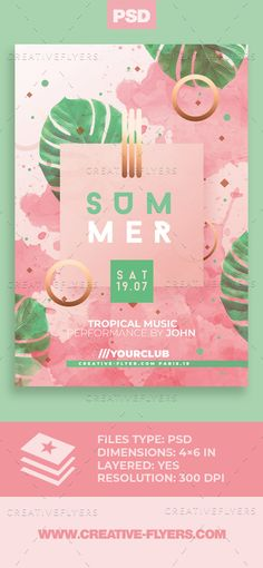 Elegant Summer Invitation Psd for photoshop ! Minimalist and modern flyer perfect to promote your next event, beach club party! Graphic Design Flyer, Creative Flyer Design, Creative Flyers, Branding Design, Event Flyer Templates, Psd Templates, Flyer Design Templates, Brochure Template, Flugblatt Design