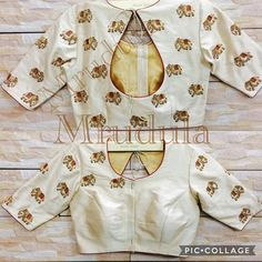 Elephant motif embroidery on white saree blouse Saree Blouse Neck Designs, Simple Blouse Designs, Stylish Blouse Design, Dress Neck Designs, Bollywood, Designer Blouse Patterns, Indian Blouse, Work Blouse, White Saree