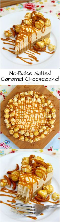 No-Bake Salted Caramel Cheesecake! ❤️ A delicious No-Bake Cheesecake packed ., Genel, No-Bake Salted Caramel Cheesecake! ❤️ A delicious No-Bake Cheesecake packed full of a Salted Caramel creamy cheesecake filling with Pretzels & Popcorn! No Bake Desserts, Delicious Desserts, Dessert Recipes, Yummy Food, Salted Caramel Cheesecake, Cheesecake Recipes, Salted Caramels, Food Cakes, Cupcake Cakes