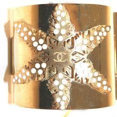 Chanel Goldtone Applique Star Cuff Bracelet