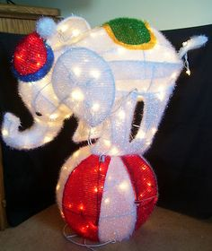 Home Accents 36 Inch Lighted Tinsel Elephant On Ball Christmas Yard Decor
