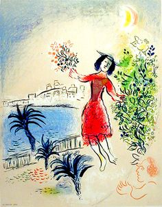 Marc Chagall and the Village - Bay of Nice. Color lithograph 1967