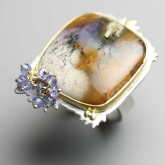 Amethyst Sage Agate Cocktail Ring with Gold Silver and Tanzanite Clusters.  fussjewelry  $273