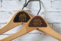 Vintage Set of 2 Hangers Natural Color Solid Wood With Metal Hook & Bar Eagle Clothes Coats Advertising Brown Black Labels Hollywood Regency by BrooklynBornFinds on Etsy