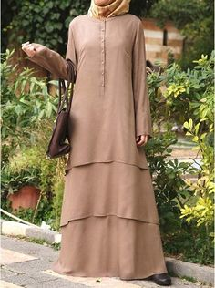 Modal Layered Abaya Almondine color The beauty of this Abaya lies in its simplic. - - Modal Layered Abaya Almondine color The beauty of this Abaya lies in its simplicity. Add our unbelievably soft Modal fabric, and you've got a winner. Islamic Fashion, Muslim Fashion, Modest Fashion, Fashion Dresses, Hijab Abaya, Hijab Dress, Hijab Outfit, Modest Dresses, Simple Dresses