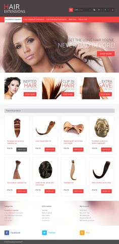 Nothing can decorate a woman like natural, long, thick hair. Our design will make your products popular on the net. Slider demonstrates pretty girls with professionally done hair styles. Three prom...