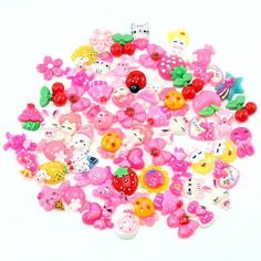 PUEEN 50pc Assorted Bows, Cats, Strawberry, Lady Bug, Ice Cream, Cupcake, Teddy Bear, Floral, Hearts, Bunny, Candy & More Flat Back Resin Cabochons Art & Cell Phone Decorations