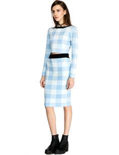 Powder Blue Knit Pencil Skirt - Baby Blue Two Piece Dress Set - $72