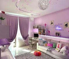 Love the painted swirl ceiling for a girl's room!
