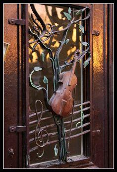 A musician's front door in Brussels, Belgium