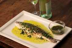 Recipe Grilled Branzino with a Parsley Cilantro Vinaigrette SimpleFoodie.com -