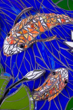 Dancing Koi glass mosaic--I wonder if this could be down on the bottom of a prefab pond?
