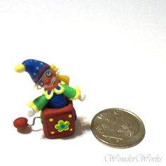 Micro Jack in the Box Very Tiny OOAK Hand Sculpted by wonderworks