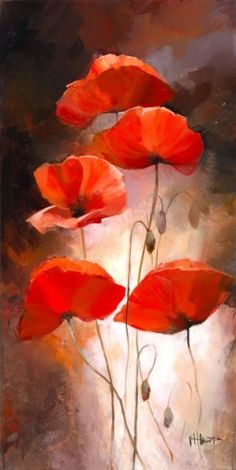 29 ideas flower art painting abstract pictures for 2019 Poppy Flower Painting, Watercolor Flowers, Flower Art, Watercolor Paintings, Poppies Painting, Cactus Flower, Acrylic Paintings, Oil Paintings, Poppy Bouquet