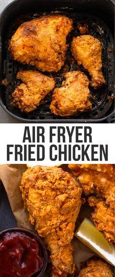 Cooking Fried Chicken, Air Fryer Fried Chicken, Air Fried Food, Fried Chicken Recipes, Air Fryer Chicken Recipes, Air Fry Chicken, Chicken Fried Chicken, Healthy Fried Chicken, Fried Chicken Recipe Airfryer