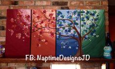 #Multicanvas #Tree painting, off centre #4seasons tree. See facebook page - NaptimeDesignsJD #ECMC
