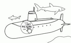 Real Submarine coloring page for kids, transportation coloring pages printables free - Wuppsy.com