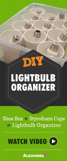 Alejandra Costello's Home Office #Organization Ideas  : Light Bulb Organizer And Storage Device