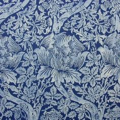 This beautiful Indigo resist print was probably made in 1870 in Europe. Description from lauracaseyinteriors.com. I searched for this on bing.com/images