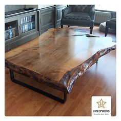 No photo description available. Walnut Coffee Table, Coffe Table, Coffee Table Design, Live Edge Furniture, Log Furniture, Live Edge Wood, Live Edge Table, Wood Slab Table, Decoration
