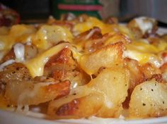 Cheesy Fiesta Potatoes - I made these last night, butused shredded cheddar instead of velveeta and rotel instead of salsa - delicious!
