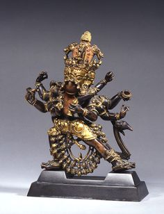 Cast for Eternity: Bronze Masterworks from India and the Himalayas 14. Hayagriva South-central Tibet 14th century Parcel-gilt copper with inset jewels and painted details H. 32.1 W. 23.0 D. 12.0 Collection J. P. H. Y., Belgium