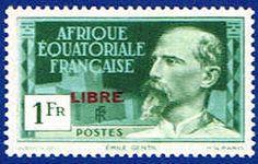 French Equatorial Africa #108 Stamp  Emile Gentil Stamp Overprinted