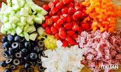 Tuscan Pasta Salad ingredients on a cutting board: cucumbers, olives, tomatoes, salami, cheese Italian Appetizers, Cold Appetizers, Appetizer Salads, Pasta Salad With Tortellini, Tortellini Recipes, Salad Dressing Recipes, Pasta Salad Recipes, Tuscan Pasta, Italian Salad